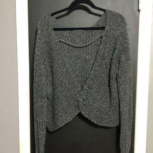 NWOT Open Back Gray Sweater